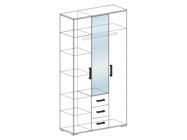 Шкаф трехстворчатый Яна ШК 752 модуль 3