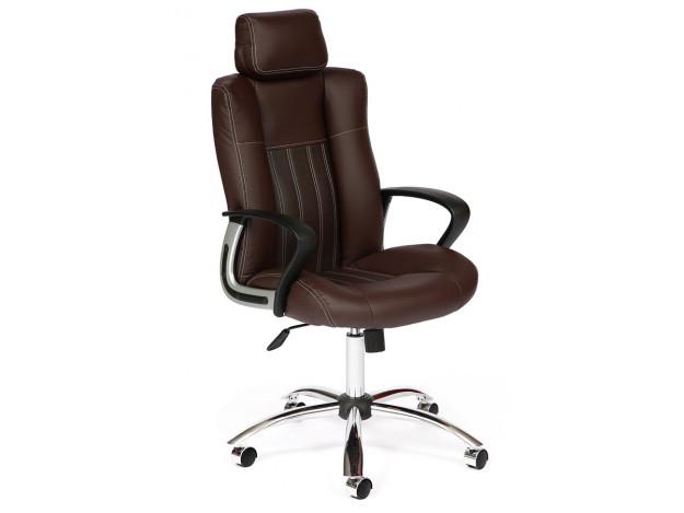 Кресло OXFORD хром кож/зам, коричневый/коричневый перфорированный, 36-36/36-36/06 (9819)