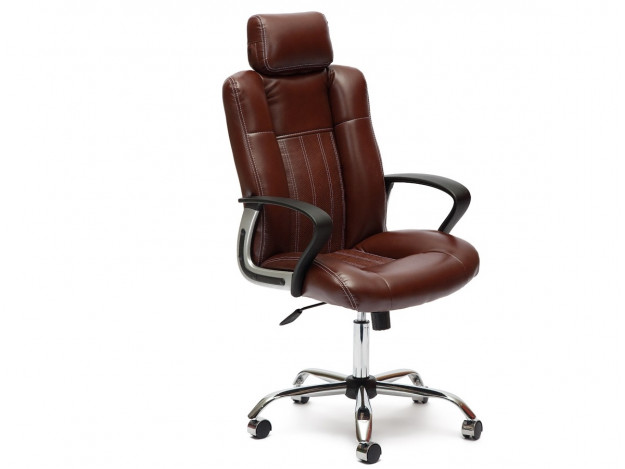 Кресло OXFORD хром кож/зам, коричневый/коричневый перфорированный, 2 TONE/2 TONE /06 (10218)