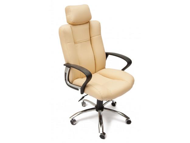 Кресло OXFORD хром кож/зам, бежевый/бежевый перфорированный, 36-34/36-34/06 (8286)