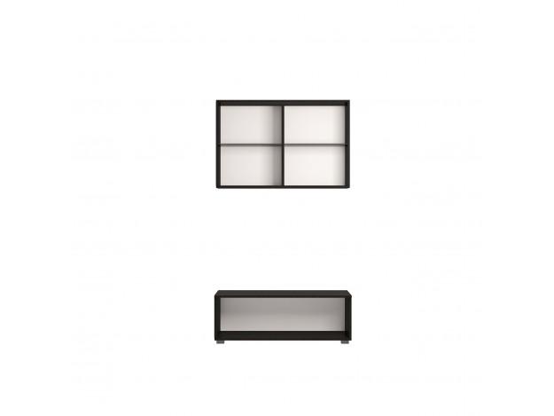 Модуль 1 Тумба тв с 2 ящиками (ТМ-080) +Модуль 3 Шкаф навесной 2-дверный (витрина)(ШК-080)