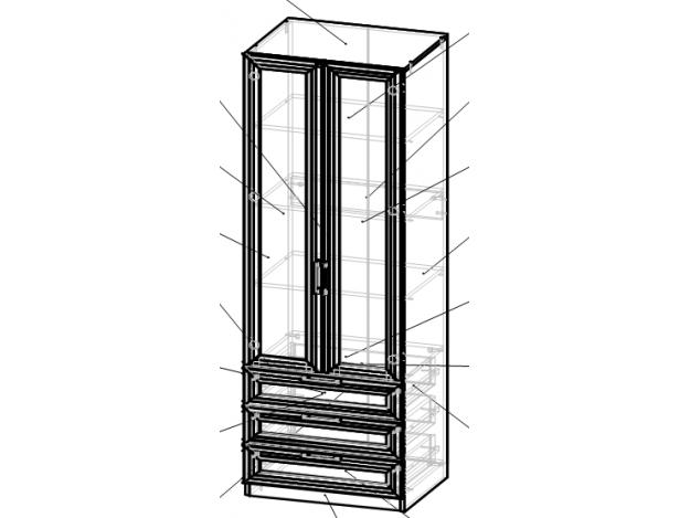 Модуль 4 Шкаф с ящиками (полки)