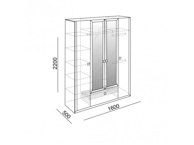 Шкаф 4х створчатый «Глэдис» (М 24)  схема