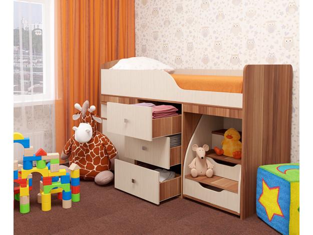 Кровать детская «Фея» (70х160см) слива Валлис/молочный дуб
