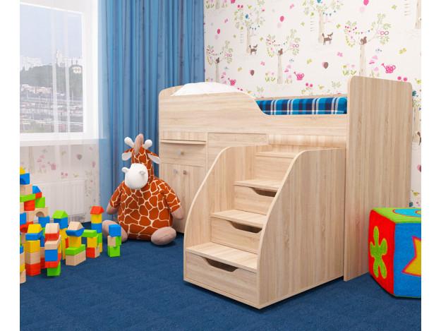 Кровать детская «Фея» (70х160см) дуб сонома