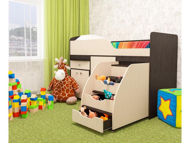 Кровать детская «Фея» (70х160см) венге/молочный дуб