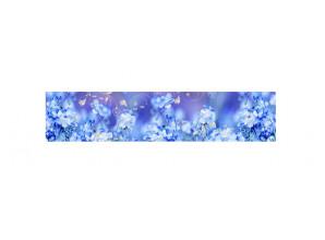 Декоративная панель Лен голубой - мерцание серебро