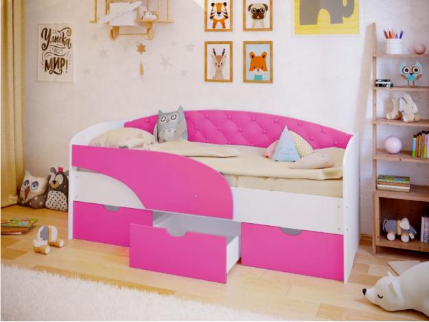 """Кровать с мягкой спинкой """"Алиса"""""""