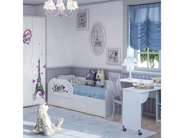 """Кровать детская (с подъёмным механизмом) """"Трио"""" КРП-01 (Белый)"""
