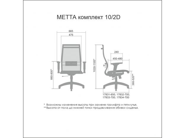 Эргономичное кресло МЕТТА Комплект 10/2D схема