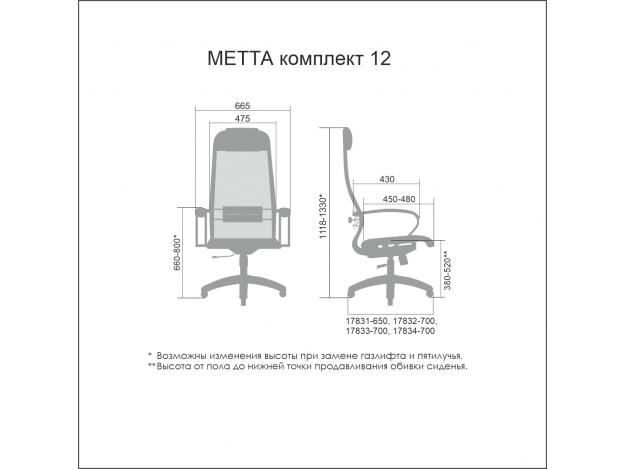 Кресло офисное Metta Комплект 12 схема