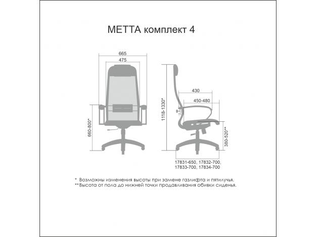 Кресло офисное Metta Комплект 4 схема