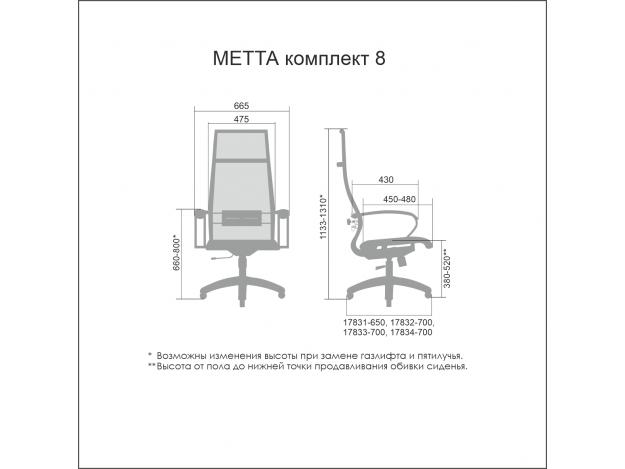 Эргономичное кресло МЕТТА Комплект 8 схема