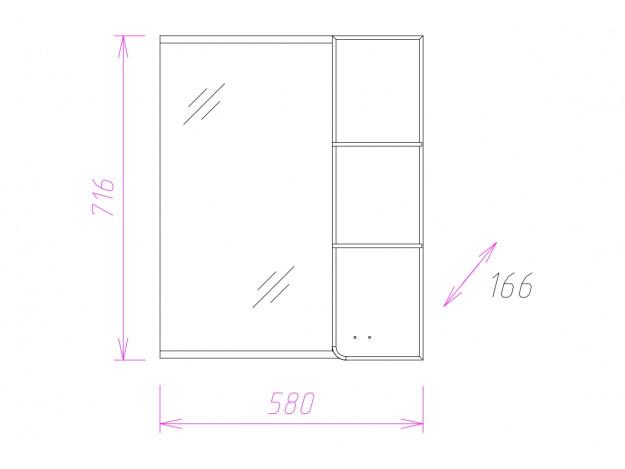 Шкаф-зеркало СТИЛЬ 58.01 (Правый)